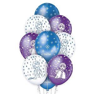"Balão de Festa Decorado Frozen II 12"" - 10 unidades - Regina - Rizzo Embalagens"