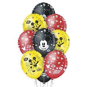 """Balão de Festa Decorado Mickey Clássico 12"""" - 10 unidades - Regina - Rizzo Embalagens"""