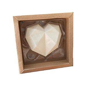 Caixa Coração Lapidado 500gr - 1 CavIdade Kraft - 05 unidades - Crystal - Rizzo Embalagens