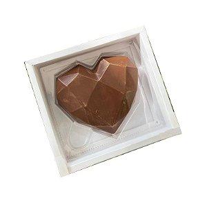 Caixa Coração Lapidado 200gr - 1 Cavidade Branco - 05 unidades - Crystal - Rizzo Embalagens