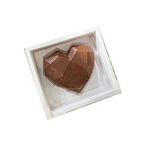 Caixa Coração Lapidado 500g - 1 Cavidade Branco - 05 unidades - Crystal - Rizzo Embalagens