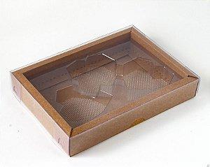 Caixa Coração Lapidado de 70 à 100gr 3 Cavidades Kraft - 05 unidades - Crystal - Rizzo Embalagens