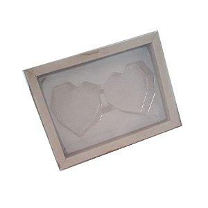 Caixa Coração Lapidado de 70 à 100gr 2 Cavidades - Kraft - 05 unidades - Crystal Rizzo Embalagens