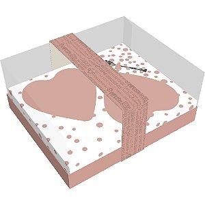 Caixa 2 Corações de Colher de 250g - Classic Coração Rose Gold Cód 2998 - 05 unidades - Ideia Embalagens Pascoa Rizzo