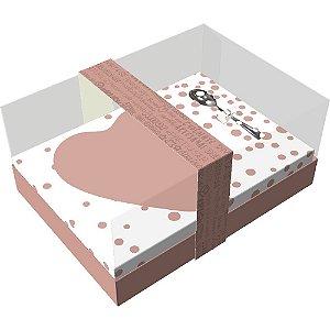 Caixa Ovo de Colher Coração de 250g - Classic Rose Gold Cód 2997 - 05 unidades - Ideia Embalagens - Páscoa Rizzo