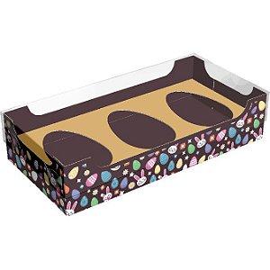 Caixa para 3 Meio Ovos de Colher 50g - Encanto Ouro Kids Cód 2304 - 10 unidades - Ideia Embalagens - Rizzo