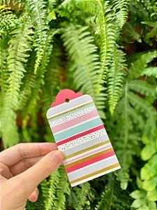 Tag Decorativa Listras Pink Ouro Azul e Poá - 05 unidades - Rizzo Embalagens
