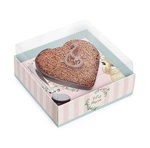 Caixa para Meio Coração de 250g - Coelha Bella - 06 unidades - Cromus Páscoa - Rizzo Embalagens