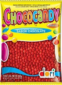 Pastilhas Confeitadas Sabor Chocolate Mini Vermelho 350g - Dori Alimentos - Rizzo Embalagens
