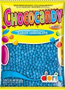 Pastilhas Confeitadas Sabor Chocolate Mini Azul 350g - Dori Alimentos - Rizzo Embalagens