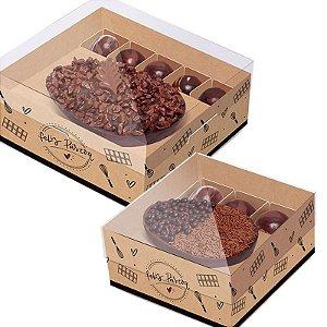 Caixa New Practice Meio Ovo de 350g - Feito com Amor Kraft - 06 unidades - Cromus Páscoa - Rizzo Embalagens