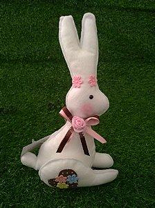 Coelho Florido Branco em Feltro - 01 unidade - Pé de Pano - Rizzo Festas