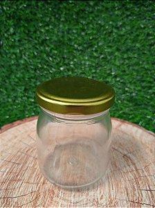 Pote de Vidro Boião com Tampa de Metal Dourada - 160ml - 01 unidade - Rizzo Embalagens