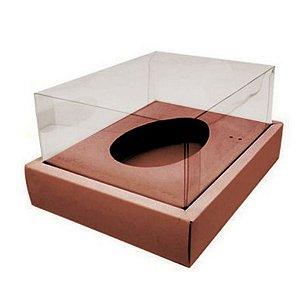 Caixa Ovo de Colher com Moldura - Meio Ovo de 250g - 20cm x 15,5cm x 10cm - Rosê - 5 unidades - Assk - Páscoa Rizzo Emba