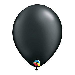 Balão de Festa Látex Liso Sólido - Preto - Qualatex - Rizzo Embalagens