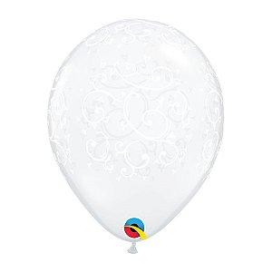 Balão de Festa Látex Liso Decorado - Diamante Filigrana e Corações - Qualatex - Rizzo Embalagens