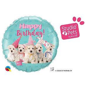 """Balão de Festa 18"""" Redondo - Birthday Cachorros Studio Pets - 01 Unidade - Qualatex - Rizzo Embalagens"""