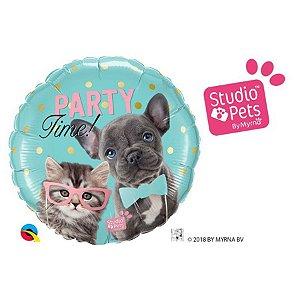 """Balão de Festa 18"""" Redondo - Party Time Pets - 01 Unidade - Qualatex - Rizzo Embalagens"""