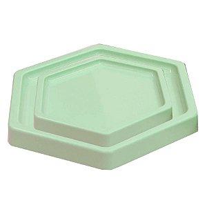Bandeja Sextavada Verde Menta - 01 unidade - Só Boleiras - Rizzo Embalagens