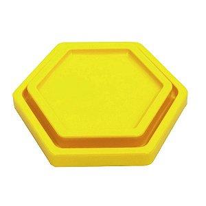 Bandeja Sextavada Amarelo Neon - 01 unidade - Só Boleiras - Rizzo Embalagens