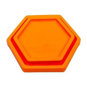 Bandeja Sextavada Laranja Neon - 01 unidade - Só Boleiras - Rizzo Embalagens