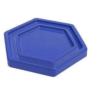 Bandeja Sextavada Azul Bic - 01 unidade - Só Boleiras - Rizzo Embalagens