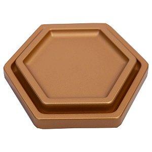 Bandeja Sextavada Premium Rose Gold - 01 unidade - Só Boleiras - Rizzo Embalagens
