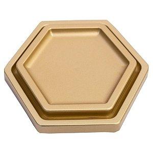 Bandeja Sextavada Premium Ouro - 01 unidade - Só Boleiras - Rizzo Embalagens