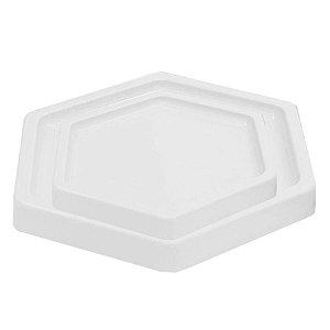 Bandeja Sextavada Branco - 01 unidade - Só Boleiras - Rizzo Embalagens