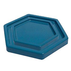 Bandeja Sextavada Azul Petróleo - 01 unidade - Só Boleiras - Rizzo Embalagens