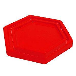 Bandeja Sextavada Vermelho - 01 unidade - Só Boleiras - Rizzo Embalagens