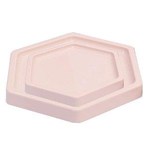 Bandeja Sextavada Rosa Claro - 01 unidade - Só Boleiras - Rizzo Embalagens