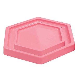 Bandeja Sextavada Rosa - 01 unidade - Só Boleiras - Rizzo Embalagens