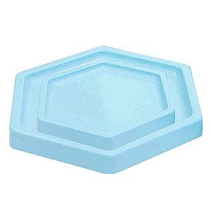 Bandeja Sextavada Azul Céu - 01 unidade - Só Boleiras - Rizzo Embalagens
