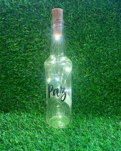 Garrafa de Vidro com Rolha Led - Paz - 01 unidade - Rizzo Embalagens
