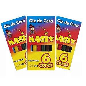Giz de Cera para Colorir 24g - 06 unidades - Magix - Rizzo Embalagens