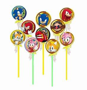 Pirulito Lembrancinha Festa Sonic - 10 unidades - Rizzo Festas