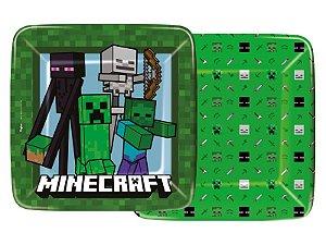 Prato Papel Quadrado 18 Cm Minecraft 12 Unidades - Regina - Rizzo Festas