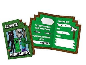 Convite Minecraft 12 Unidades - Regina - Rizzo Festas