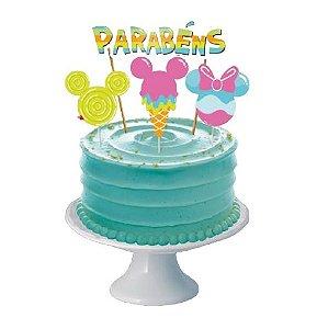 Decoracao De Bolo Cenario Mickey Cores 04 Unidades - Regina - Rizzo Festas