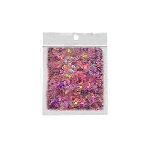 Confete Redondo 10g - Holográfico Rosa - Rizzo Embalagens
