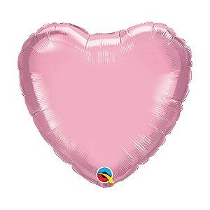 """Balão de Festa Microfoil Coração 18"""" 45cm - Rosa Perolado - 01 Unidade - Qualatex - Rizzo Balões"""