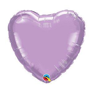 """Balão de Festa Microfoil Coração 18"""" 45cm - Lavanda Perolado - 01 Unidade - Qualatex - Rizzo Balões"""