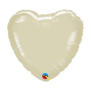 """Balão de Festa Microfoil Coração 18"""" 45cm - Marfim Perolado - 01 Unidade - Qualatex - Rizzo Balões"""