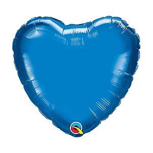 """Balão de Festa Microfoil Coração 18"""" 45cm - Azul Safira - 01 Unidade - Qualatex - Rizzo Balões"""