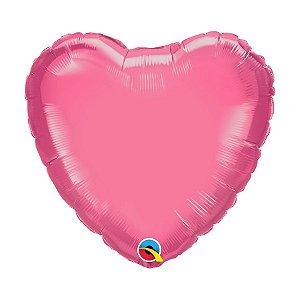 """Balão de Festa Microfoil Coração 18"""" 45cm - Rosado - 01 Unidade - Qualatex - Rizzo Balões"""