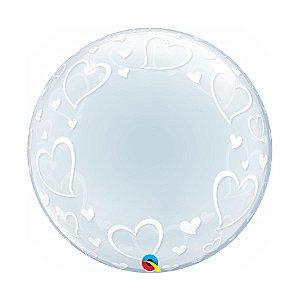 """Balão de Festa Bubble Duplo 24"""" 60cm - Corações - 01 Unidade - Qualatex - Rizzo Embalagens"""