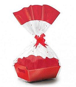 Kit Cesta De Papel Cartão Cristalino Vermelho - 01 unidade - Rizzo Embalagens
