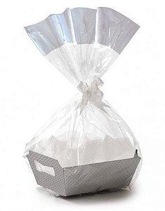 Kit Cesta De Papel Cartão Cristalino Prata - 01 unidade - Rizzo Embalagens