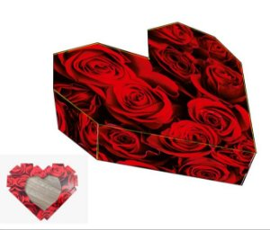 Caixa Coração Lapidado Rosas Vermelhas Ref. 2311 - 2 un. Erika Melkot Rizzo